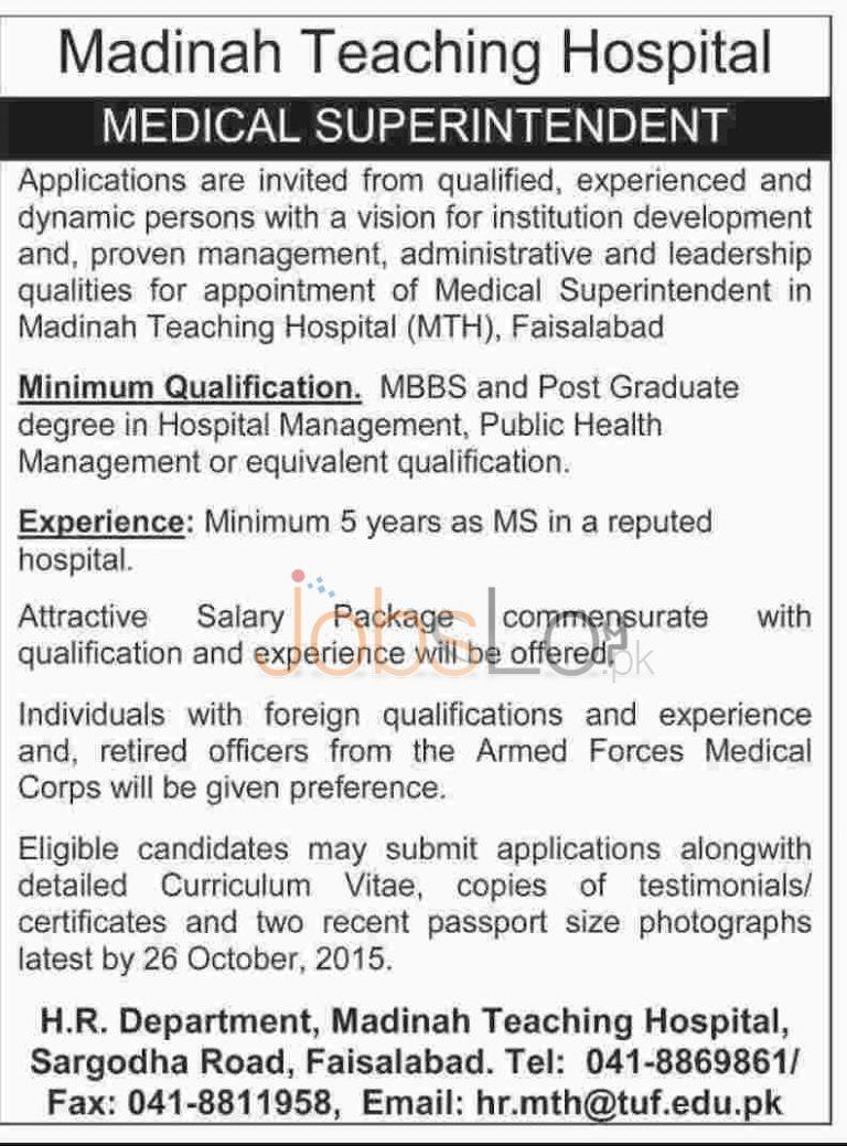 Madina Teaching Hospital Faisalabad Jobs 2015 for Medical Superintendent