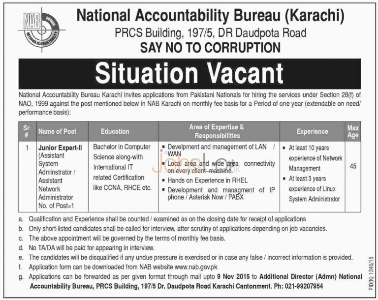 National Accountability Bureau NAB Karachi Jobs Oct / Nov 2015 Application Form