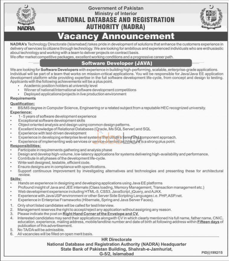 National Database Registration Authority NADRA Islamabad Jobs 2015