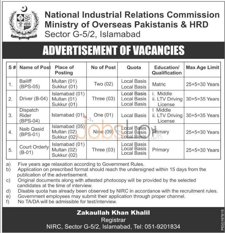 NIRC Ministry of Overseas Pakistanis & HRD Jobs 2015 Employment Opportunities