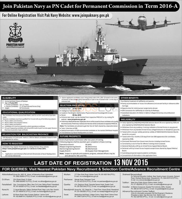 Join Pak Navy as PN Cadet 2016 A Online Registration www.joinpaknavy.gov.pk