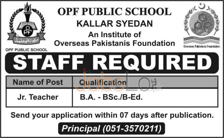 OPF Public School Kallar Syedan Jobs 2015 for Jr. Teacher