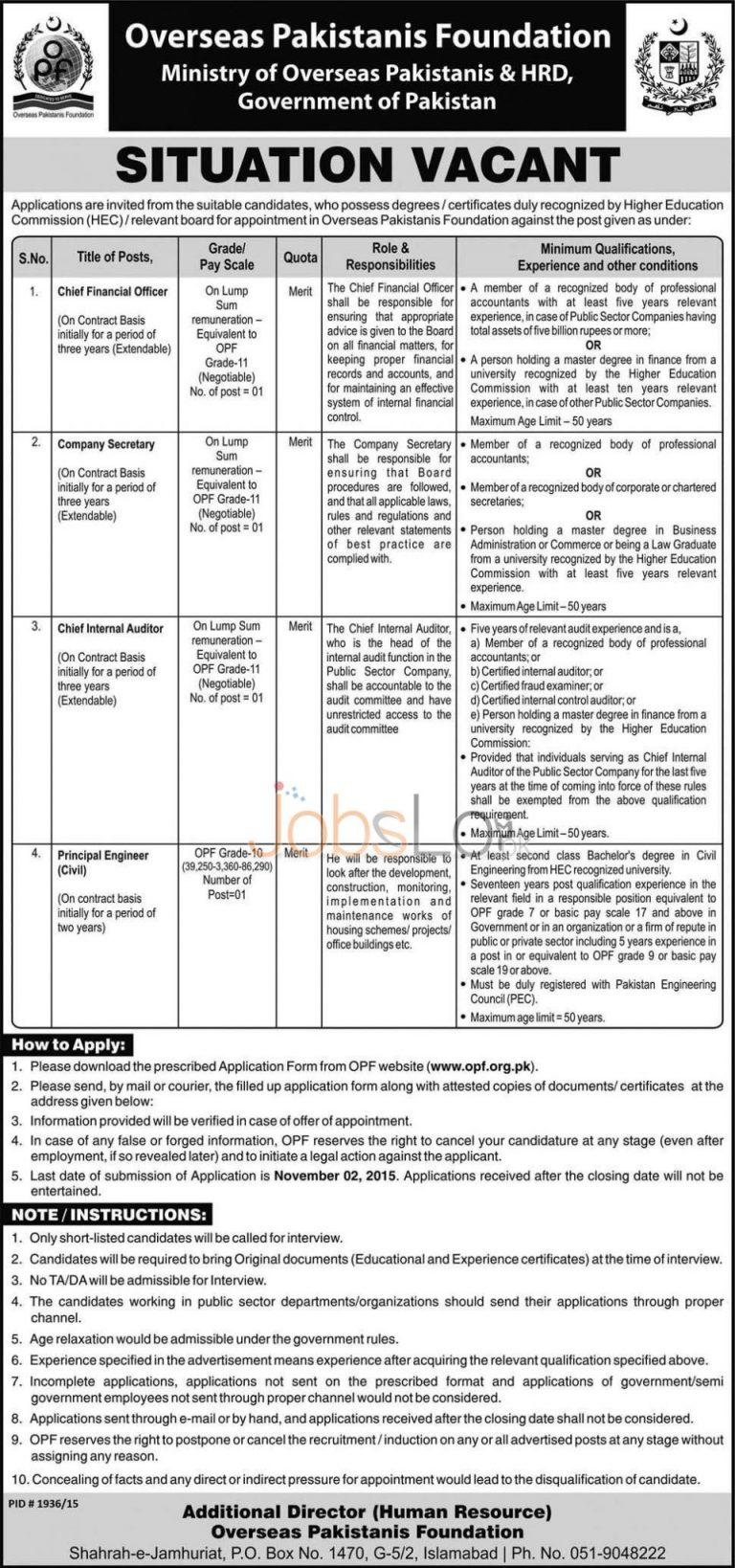 Overseas Pakistani Foundation OPF Jobs Application Form 2015