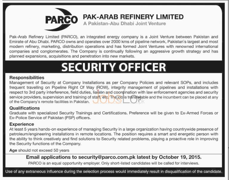 PARCO Pak Arab Refinery Jobs 2015 for Security Officer