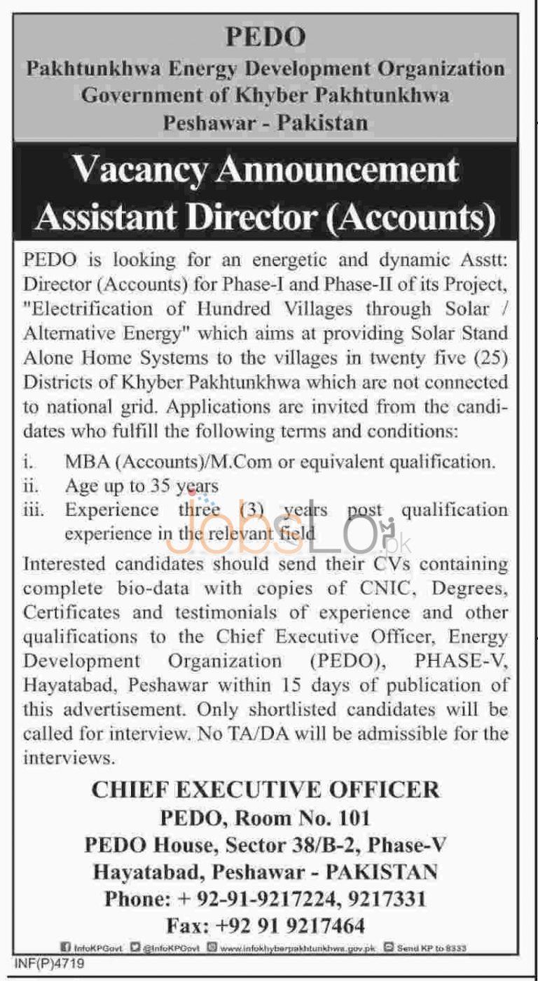 Pakhtunkhwa Energy Development Organization Assistant Director Jobs 2015