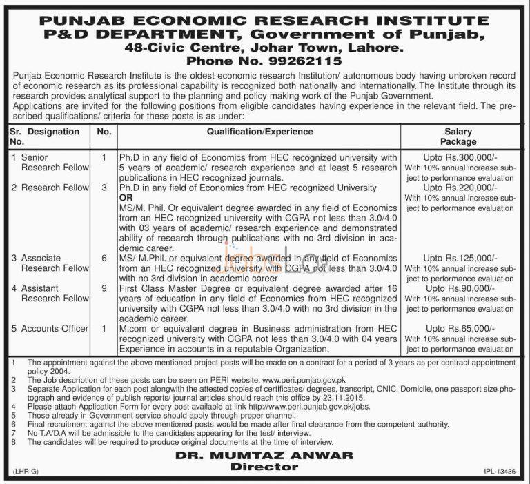 P&D Department Punjab Economic Research Institute Jobs 2015 Application Form