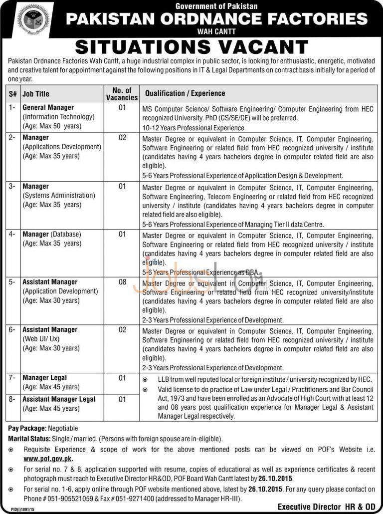 Govt of Pakistan POF Wah Cantt Jobs 2015 Apply Online www.pof.gov.pk