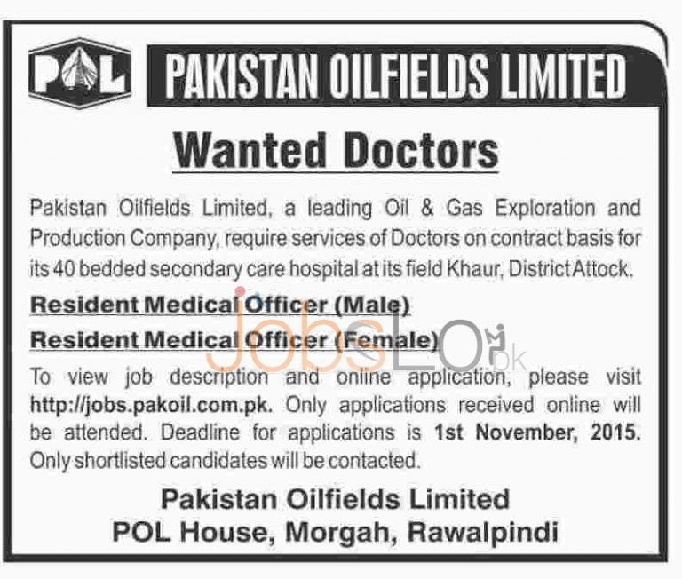 Pakistan Oilfields Limited POL Jobs 2015 for Medical Officer Male & Female