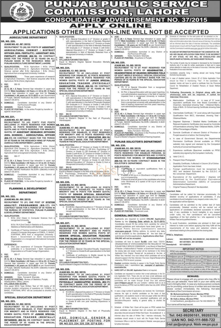www.ppsc.gop.pk jobs 2015 Apply Online for Special Education Department