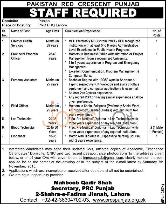 PRCS Punjab Jobs