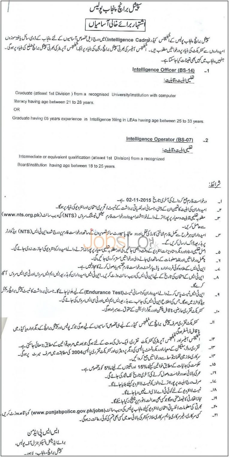 Punjab Police Special Branch Jobs October 2015 NTS Form & Last Date