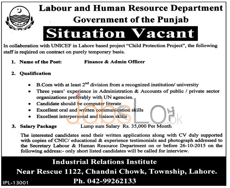 Labour & Human Resource Department Punjab Lahore Jobs 2015