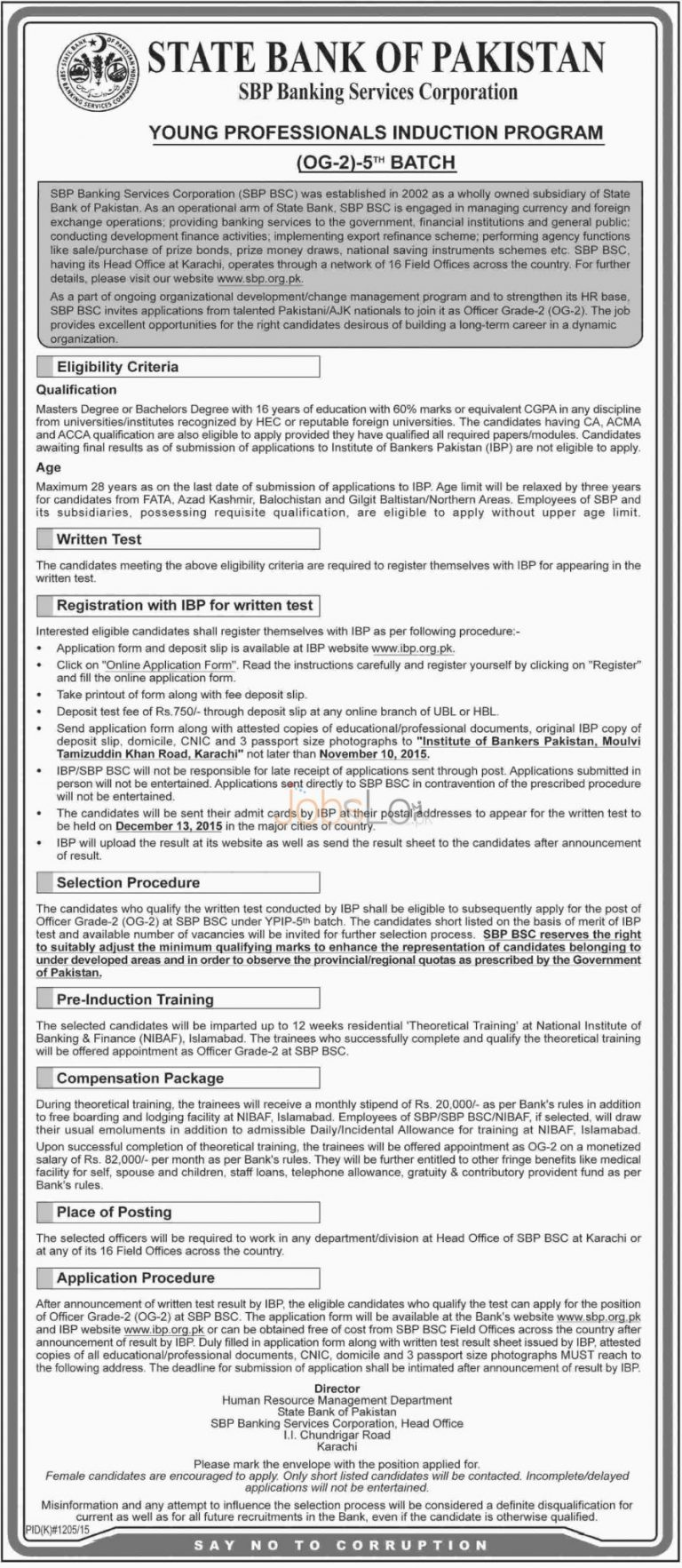 SBP YPIP 5th Batch 2015 Apply Online Young Professionals Induction Program