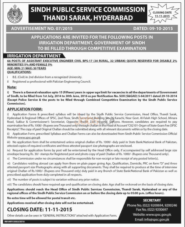 SPSC Irrigation Department Jobs 2015 for Assistant Executive Engineer Civil