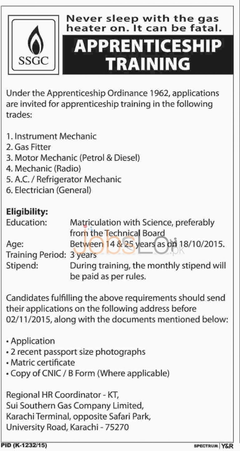 Apprenticeship Training in SSGC 2015 Sui Southern Gas Company Limited