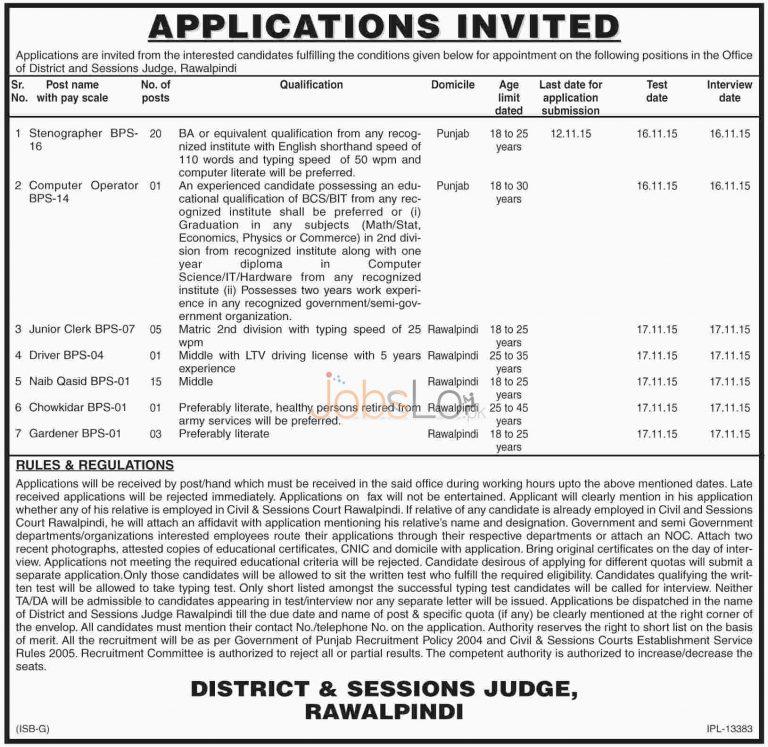 District & Session Court Rawalpindi Jobs Oct / Nov 2015 Stenographer & Junior Clerk