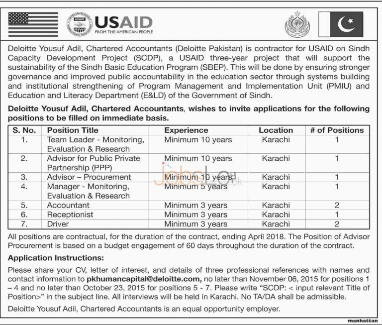 Sindh Capacity Development Project USAID Pakistan Jobs 2015 Apply online