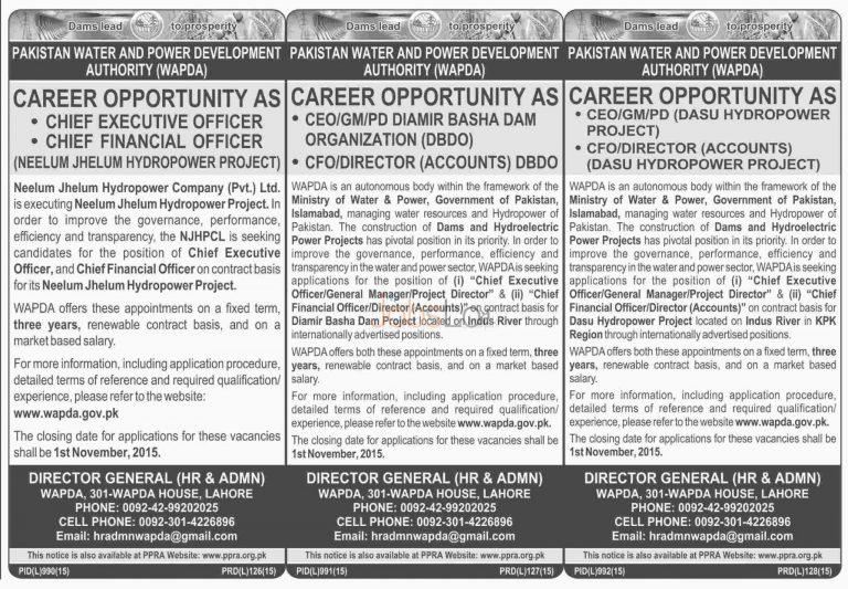 WAPDA Jobs October 2015 Pakistan Water and Power Development Authority