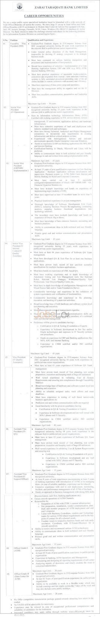 Zarai Taraqiati Bank ZTBL Jobs 2015 Oct / Nov Advertisement Apply Online
