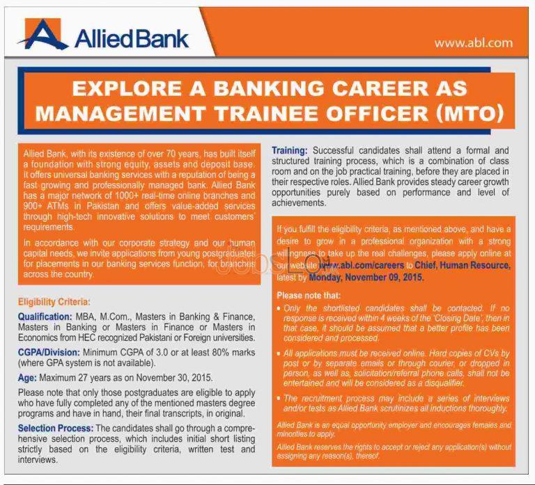 MTO Jobs in Allied Bank 2015 Apply Online November Advertisement