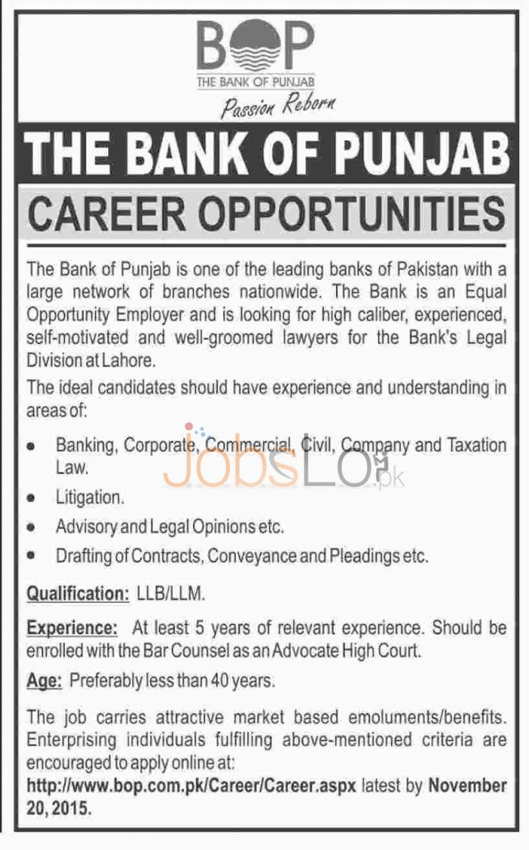 BOP Bank of Punjab Jobs 2015 for Lawyers Apply Online