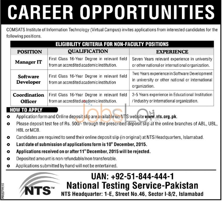 NTS COMSATS Virtual Campus Jobs 29 November 2015 Application Form