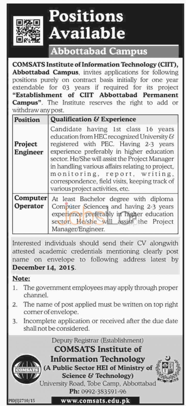COMSATS Abbottabad Jobs 2015 for Computer Operator & Project Engineer
