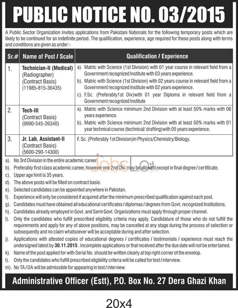 Public Sector Organization DG Khan Jobs November 2015 For Technician