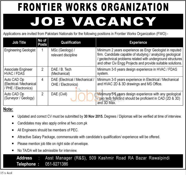 Pakistan Army FWO Jobs Nov 2015 Apply Online Last Date