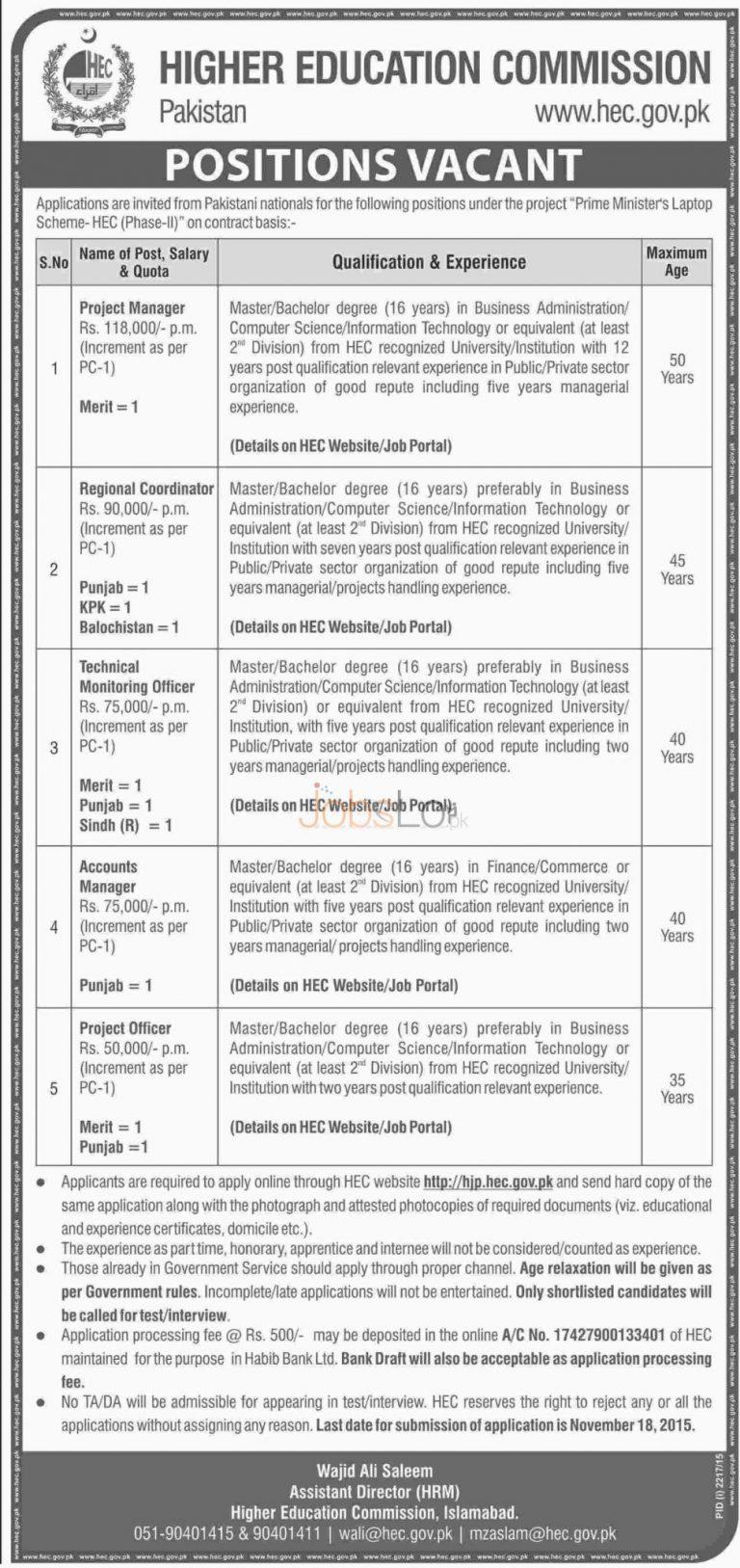 Higher Education Commission HEC Jobs November 2015 Apply Online