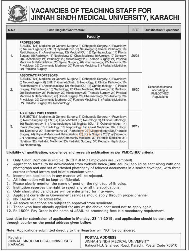 JSMU Jobs 2015 Application Form Jinnah Sindh Medical University
