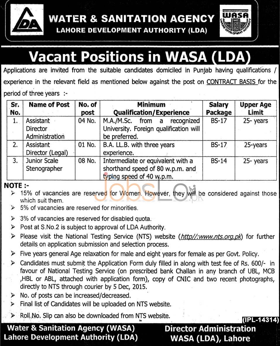 LDA Assistant Director Jobs 2015 NTS Form Test Sample Paper & Roll No Slip