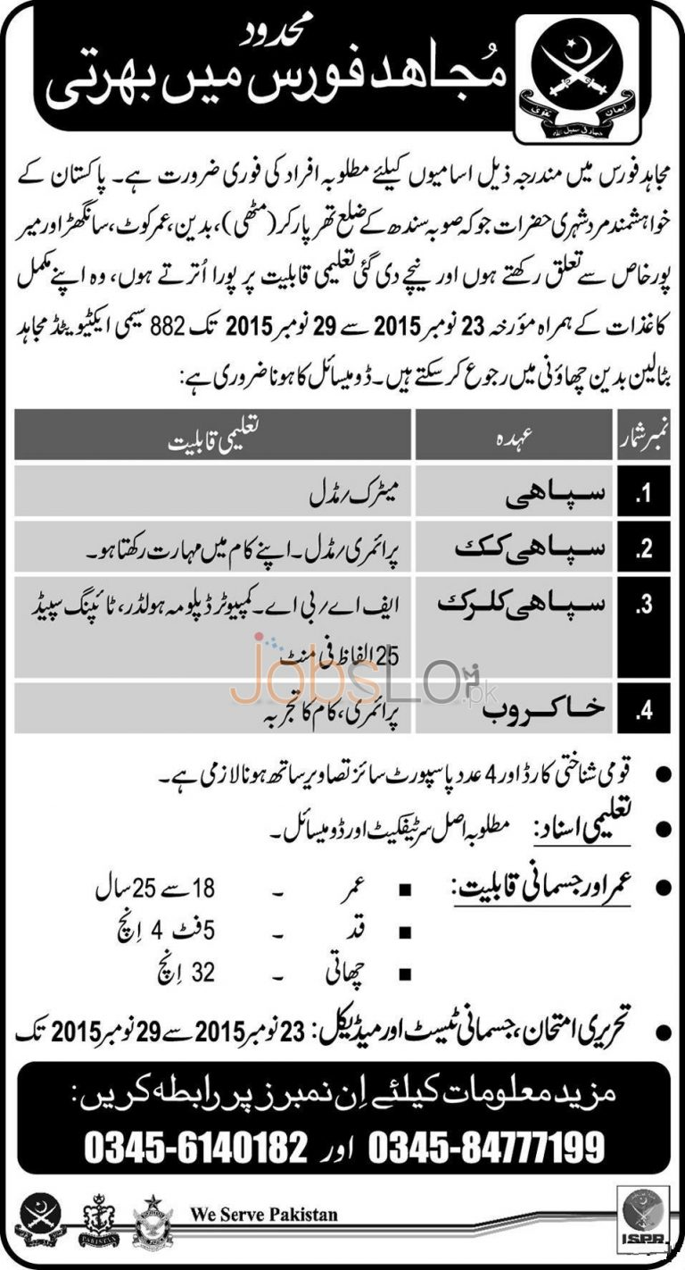 Join Mujahid Force as Soldier November 2015 Registration Test Date