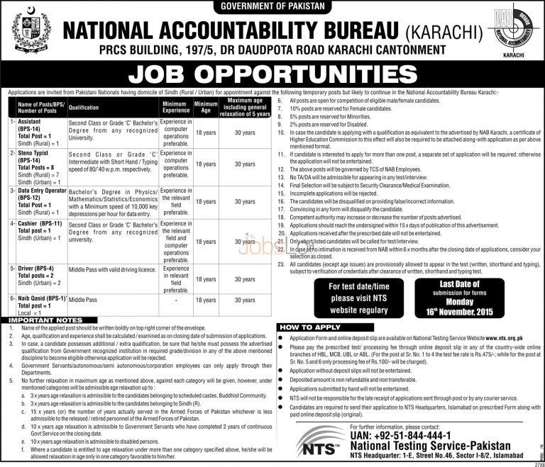 NTS NAB Karachi Jobs November 2015 Application Form National Accountability Bureau
