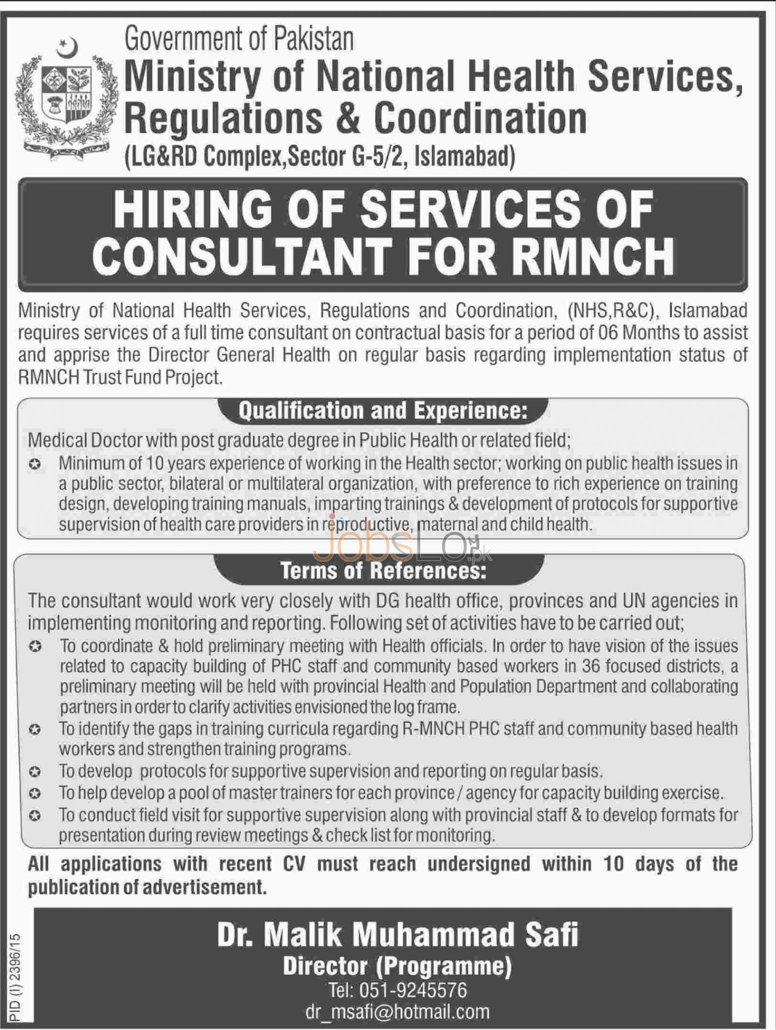 Ministry of National Health Services Jobs