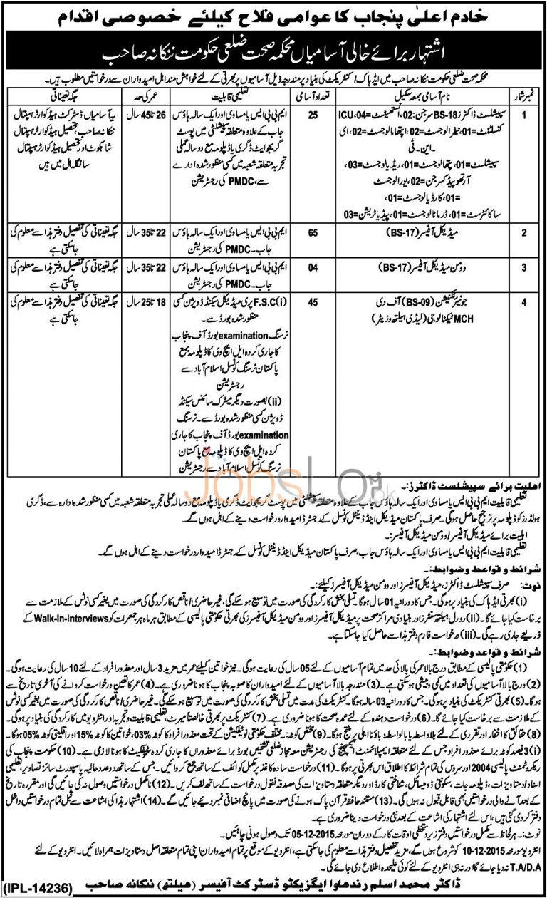 Health Department Nankana Sahib Job Opportunities 2015 Latest