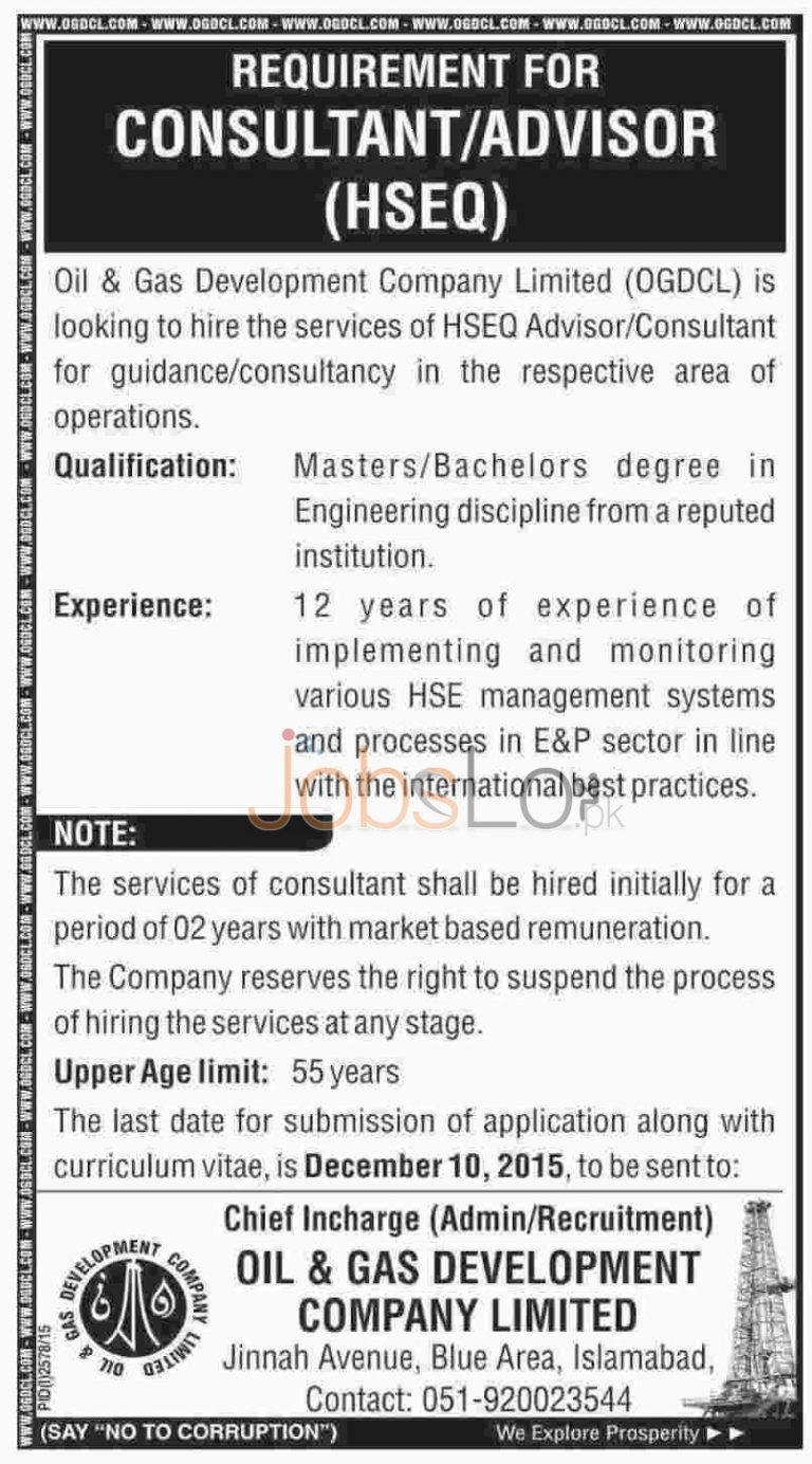 OGDCL Islamabad Jobs for Consultant / Advisor 2015 Eligibility Criteria