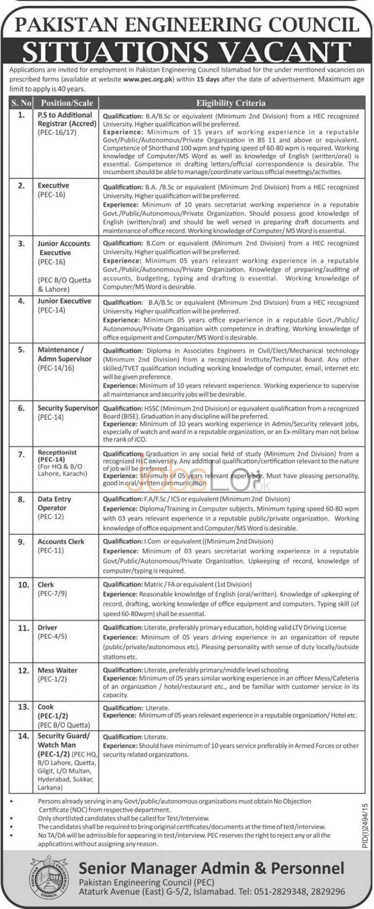 Pakistan Engineering Council PEC Jobs 2015 Application Form Download