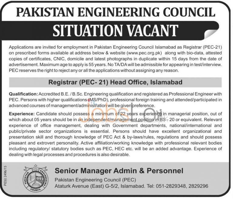 Pakistan Engineering Council Jobs Nov 2015 for Registrar PEC-21