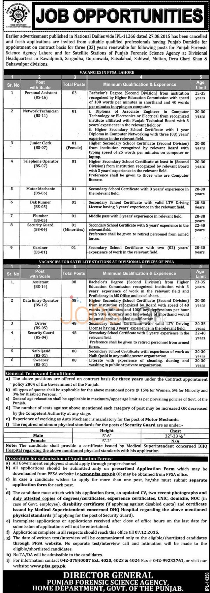 Punjab Forensic Science Agency Jobs November 2015 Application Form