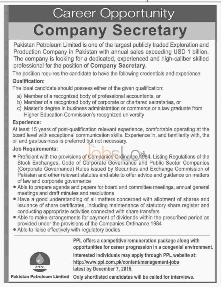 PPL Pakistan Petroleum Limited Jobs Nov / Dec 2015 for Company Secretary