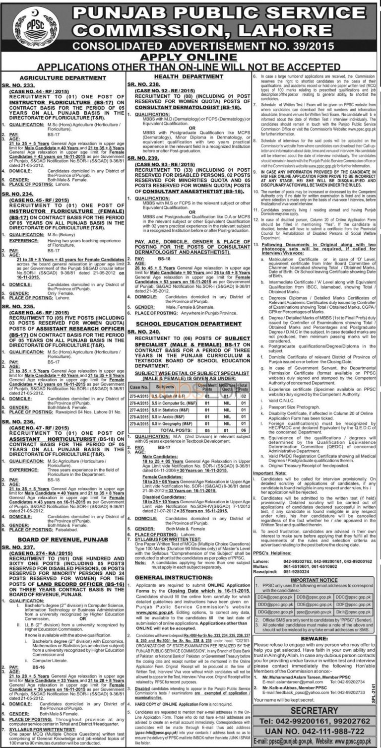 PPSC Board of Revenue Land Record Officer Jobs 2015 Apply Online