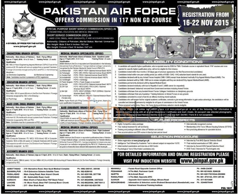 Join Pakistan Air Force PAF Commission in 117 Non GD Course Online Registration