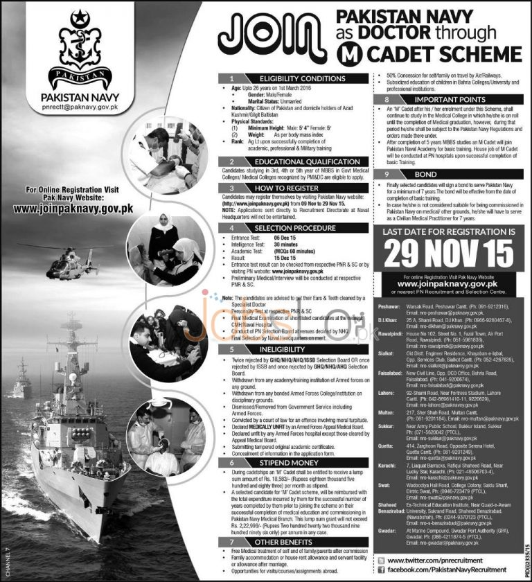 Join Pak Navy as Doctor Through M Cadet Scheme 2015 Online Registration & Test Result