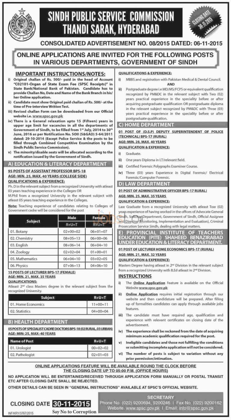 SPSC Jobs Nov 2015 Apply Online for Sindh Public Service Commission