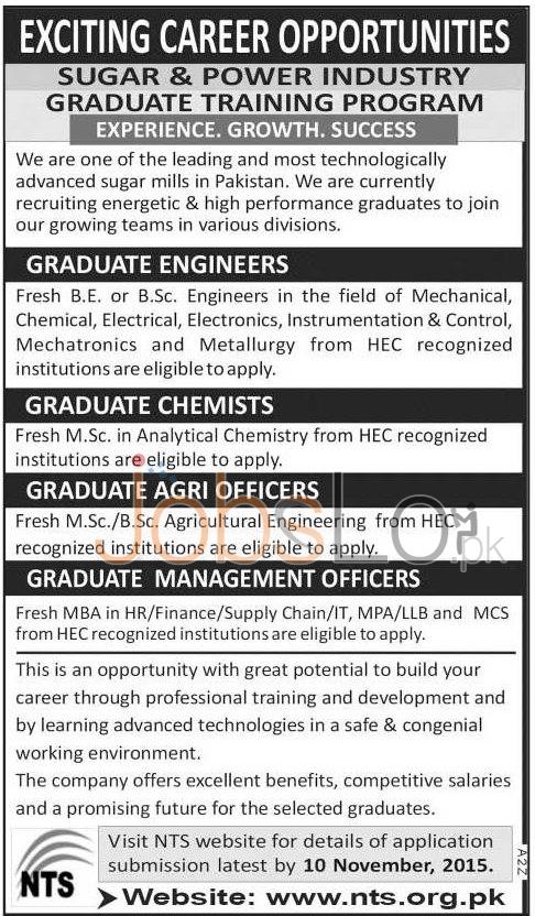 Sugar Industry Graduate Training Program