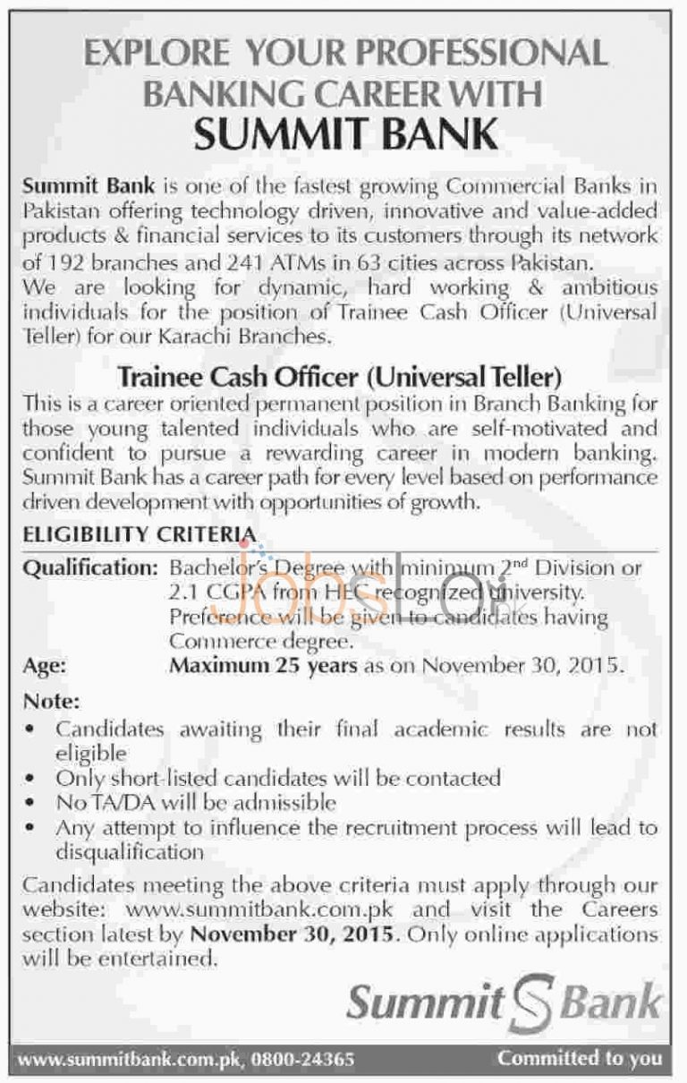 Summit Bank Jobs Karachi 2015 for Trainee Cash Officer Apply Online
