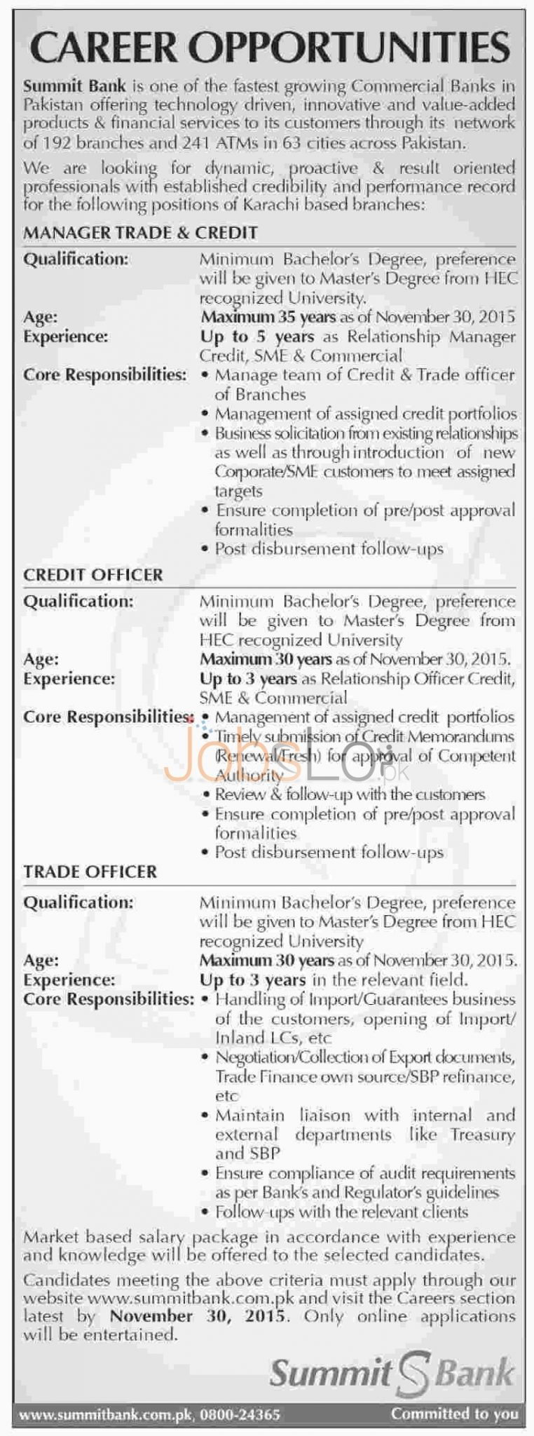 Summit Bank Jobs