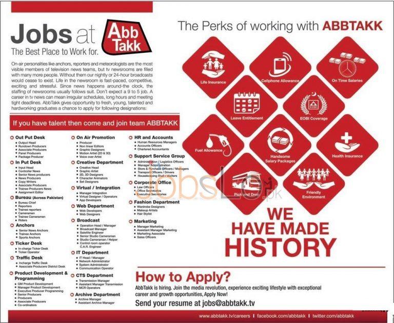 Abb Takk News TV Channel Jobs 20 November 2015 Apply Online