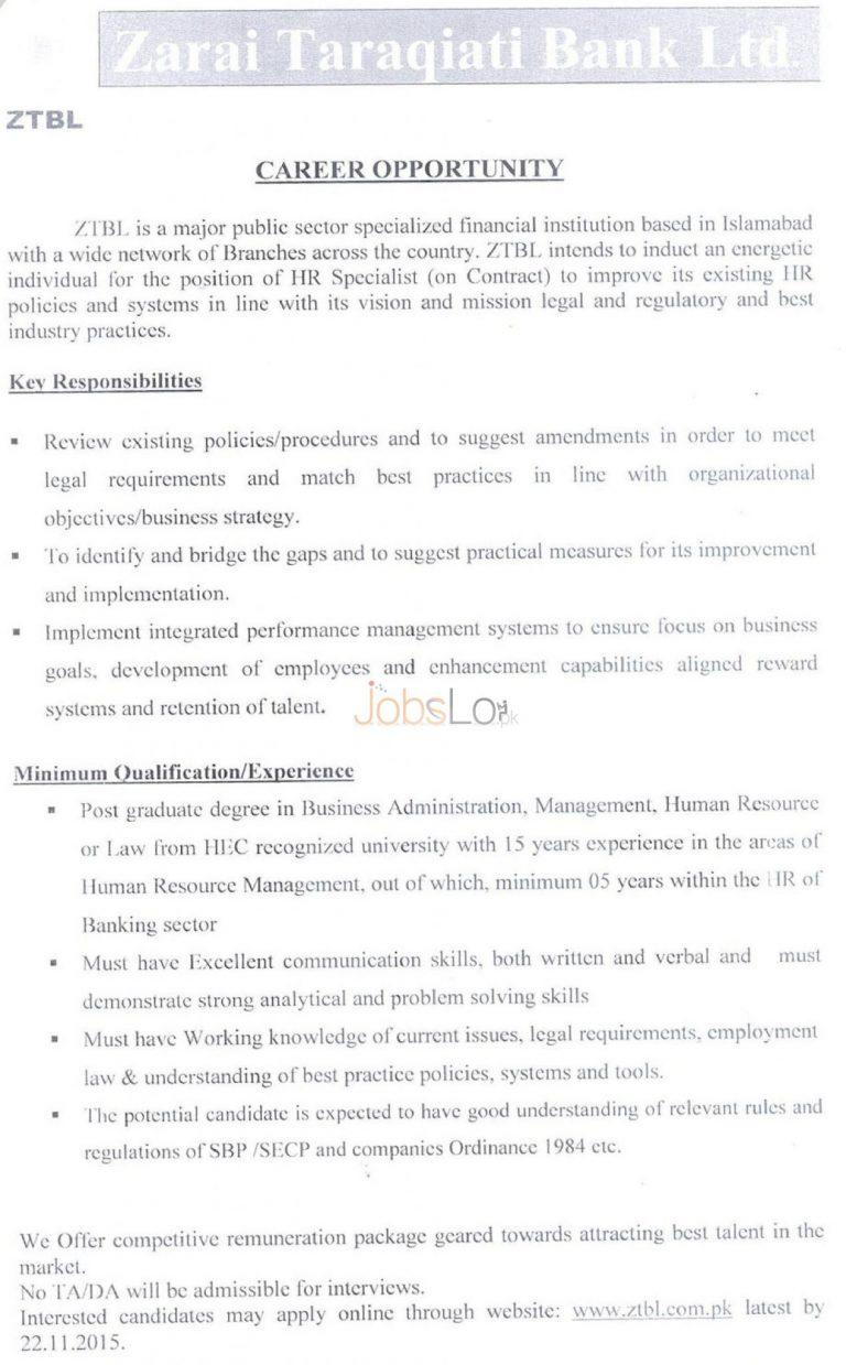 Zarai Taraqiati Bank ZTBL Jobs 2015 for HR Specialist Apply Online